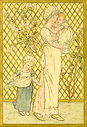 Illustration of a Mother toddler and baby from the book ' A day in a child's life ' Illustrated by Kate Greenaway. Music by Myles Birket Foster, Published in London and New York By George Routledge and Sons in 1881