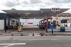 © Licensed to London News Pictures. 27/09/2021. London, UK. Closed fuel pumps at a BP petrol station in Acton, West London. The petrol station is closed due to problems with the supply and distribution chain. This has also prompted panic buying by motorists in the last few days. Companies including BP and Shell have restricted deliveries due to the lack of HGV drivers. Photo credit: Ray Tang/LNP