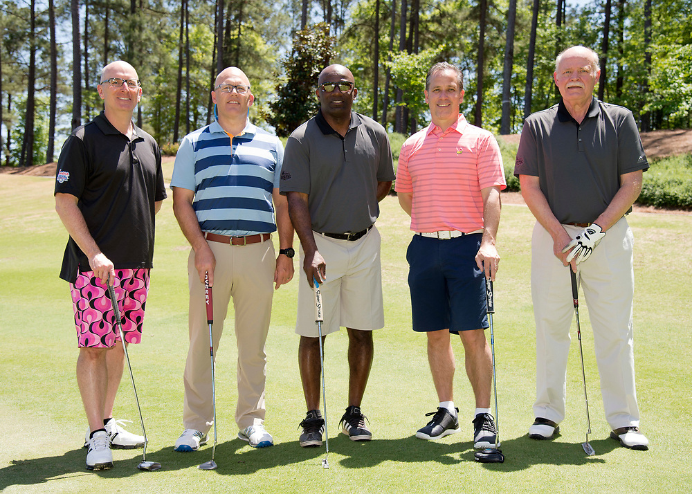Group hotos during the Chick-fil-A Peach Bowl Lamb-Weston Celeb and Coaches Pro-Am, at the Oconee Golf Course, Reynolds Plantation, Monday, April 30, 2018, in Greensboro, Georgia. (Dale Zanine via Abell Images for Chick-fil-A Peach Bowl Challenge)