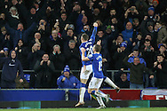 Ross Barkley of Everton (20) celebrates after scoring his teams 2nd goal. Barclays Premier League match, Everton v Newcastle United at Goodison Park in Liverpool on Wednesday 3rd February 2016.<br /> pic by Chris Stading, Andrew Orchard sports photography.