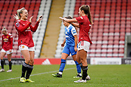 GOAL 2-0. Manchester United Women forward Ella Toone (7) scores a goal and celebrates to make the score 2-0 during the FA Women's Super League match between Manchester United Women and BIrmingham City Women at Leigh Sports Village, Leigh, United Kingdom on 24 January 2021.