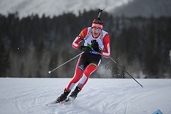 February 8, 2019 - Calgary, Alberta, Canada - EDER Simon (AUT) is competing during Men's Relay of 7 BMW IBU World Cup Biathlon 2018-2019. Canmore, Canada, 08.02.2019 (Credit Image: © Russian Look via ZUMA Wire)