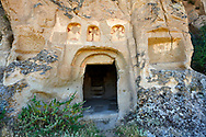 """Pictures & images of the exterior of the Comlekci Church,  10th century, the Vadisi Monastery Valley, """"Manastır Vadisi"""",  of the Ihlara Valley, Guzelyurt , Aksaray Province, Turkey.<br /> <br /> Comlekci Church is a Roman Byzantine church dating from the 10th century. the south section of the roof frescoes depict the Evangel, Christmas and the adoration of the magi. The northern panel frescoes depict Christ and the Cross. .<br /> <br /> If you prefer to buy from our ALAMY PHOTO LIBRARY  Collection visit : https://www.alamy.com/portfolio/paul-williams-funkystock/vadisi-monastery-valley-turkey.html<br /> <br /> Visit our TURKEY PHOTO COLLECTIONS for more photos to download or buy as wall art prints https://funkystock.photoshelter.com/gallery-collection/3f-Pictures-of-Turkey-Turkey-Photos-Images-Fotos/C0000U.hJWkZxAbg"""