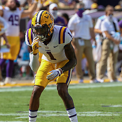 Sep 26, 2020; Baton Rouge, Louisiana, USA; LSU Tigers cornerback Eli Ricks (1) against the Mississippi State Bulldogs during the first half at Tiger Stadium. Mandatory Credit: Derick E. Hingle-USA TODAY Sports