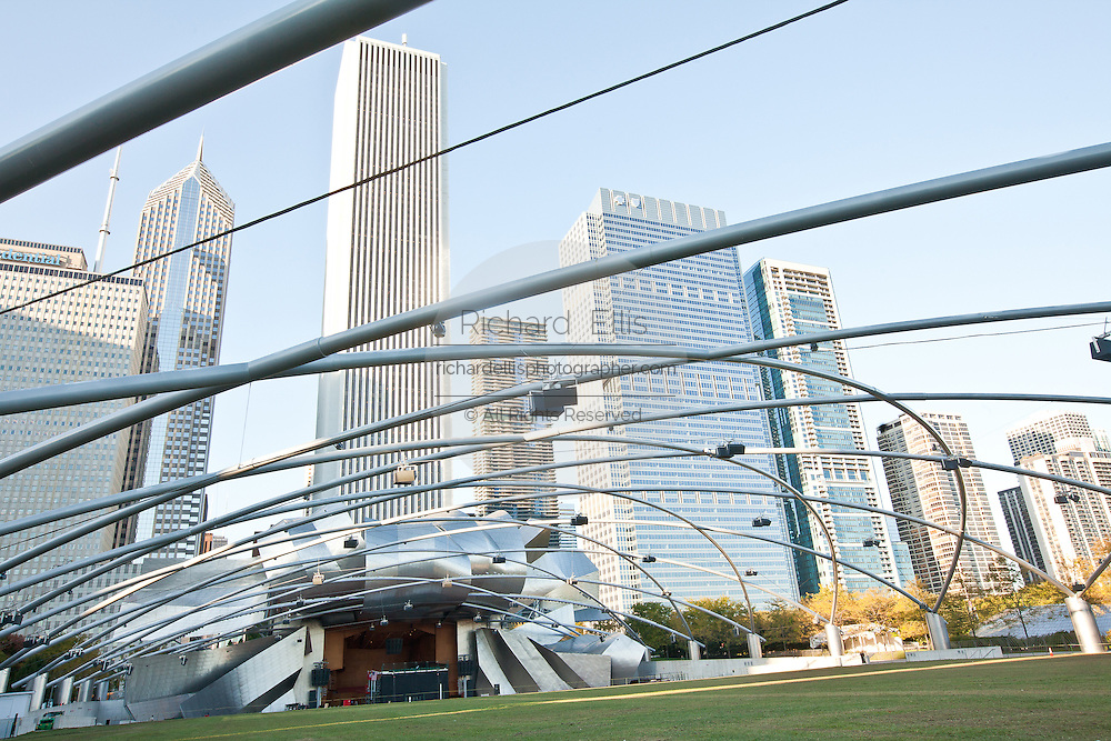 Jay Pritzker Pavilion designed by Frank Gehry in Millennium Park in Chicago, IL, USA.