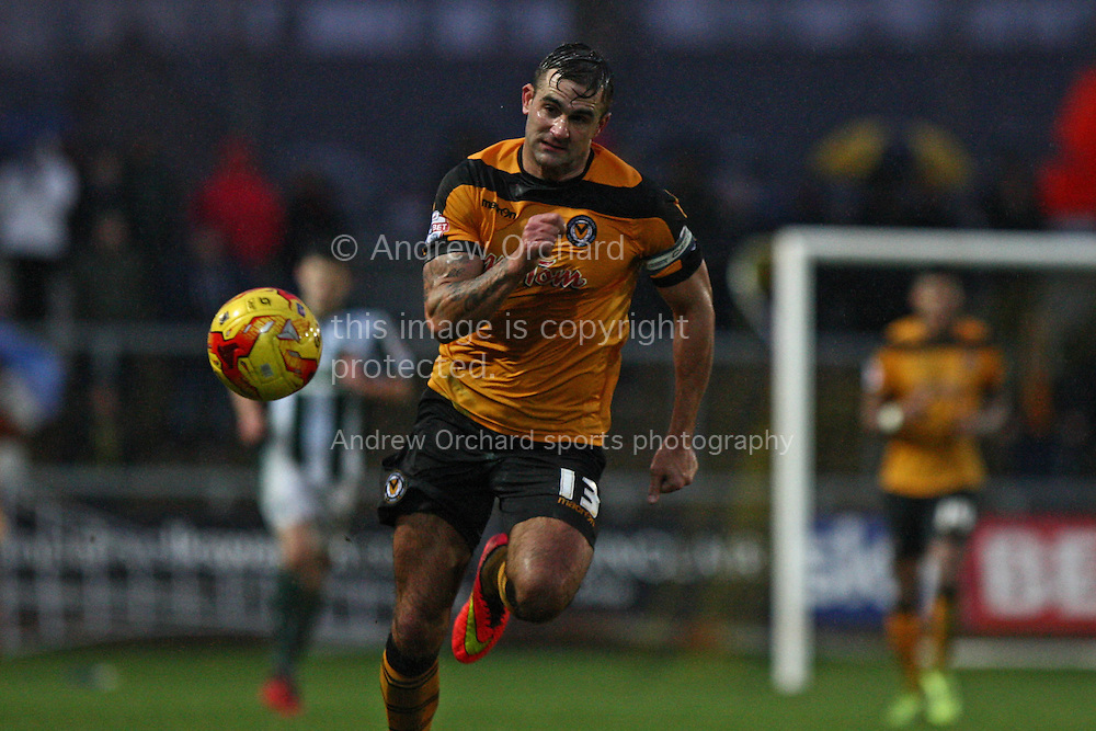 Capt of Newport County Andy Sandell in action. Skybet football league two match, Newport County v Plymouth Argyle at Rodney Parade in Newport, South Wales on Boxing Day, Friday 26th December 2014<br /> pic by Mark Hawkins, Andrew Orchard sports photography.