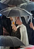 Pope John Paul II made his historic tour to the United States, September 10-18, 1987, visiting Miami, Florida; Columbia, SC; New Orleans, LA; San Antonio, TX, Phoenix, AZ, Los Angeles, CA; Monterrey, CA, San Francisco, CA, and Detroit, MI. <br /> <br /> Rain on the ceremony, Columbia, SC.