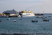 Fred Olsen Express ferry ship in  port at Corralejo, Fuerteventura, Canary Islands, Spain