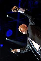 "17.04.2015, Ruhrcongresscenter, Bochum, GER, Unheilig, Gipfelstürmer Tournee 2015, im Bild Der Graf (Saenger) mit Mikrofon // performs live on stage during the 2015 tour ""Gipfelsturmer"" at Ruhrcongresscenter in Bochum, Germany on 2015/04/17. EXPA Pictures © 2015, PhotoCredit: EXPA/ Eibner-Pressefoto/ Hommes<br /> <br /> *****ATTENTION - OUT of GER*****"