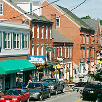 Center of the commercial district in the tiny village of Damariscotta, Maine.  Old US Highway 1 runs through the center.