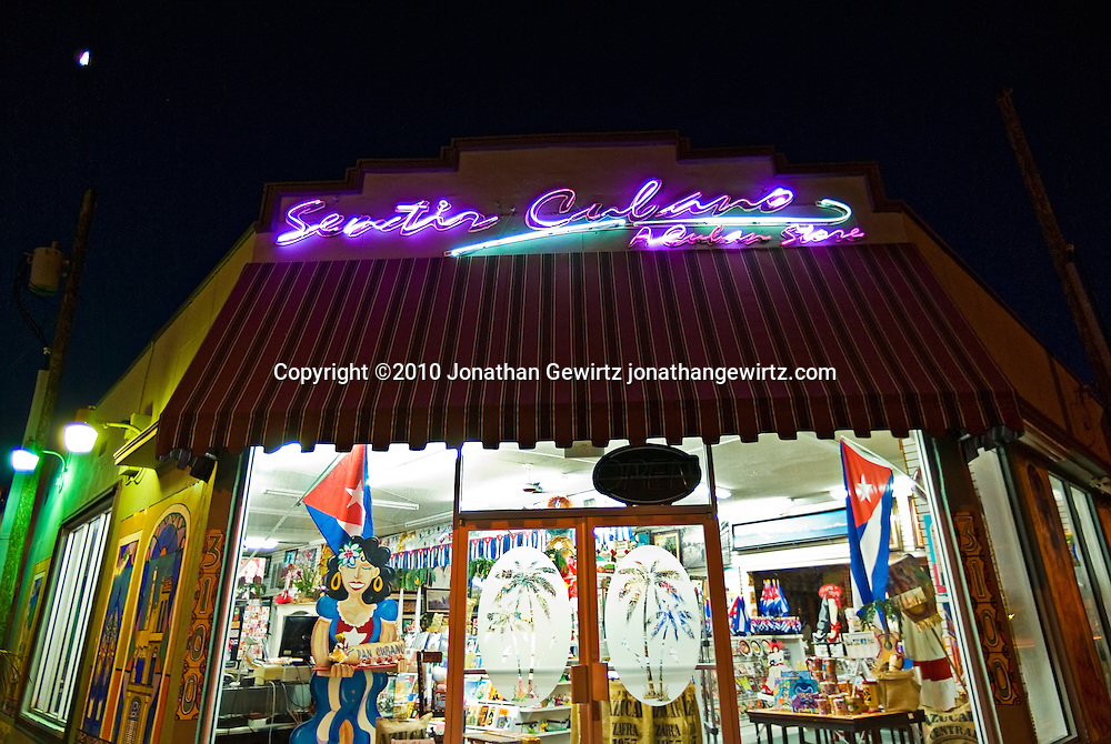 Night view of Sentir Cubano, a Cuban store on 8th Street in Miami, Florida. WATERMARKS WILL NOT APPEAR ON PRINTS OR LICENSED IMAGES.