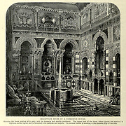 Reception Room of a Damascus House Engraving on Wood from Picturesque Palestine, Sinai and Egypt by Wilson, Charles William, Sir, 1836-1905; Lane-Poole, Stanley, 1854-1931 Volume 2. Published in New York by D. Appleton in 1881-1884