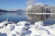 winter morining on the shores of Lake Wenatchee, Lake Wenatchee State Park, Washington State