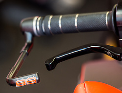 October 20, 2017 - Melbourne, Victoria, Australia - Close of brake and brake guard of the bike belonging to Spanish rider Jorge Lorenzo (#99) of Ducati Team before the first free practice session of the MotoGP class at the 2017 Australian MotoGP at Phillip Island, Australia. (Credit Image: © Theo Karanikos via ZUMA Wire)