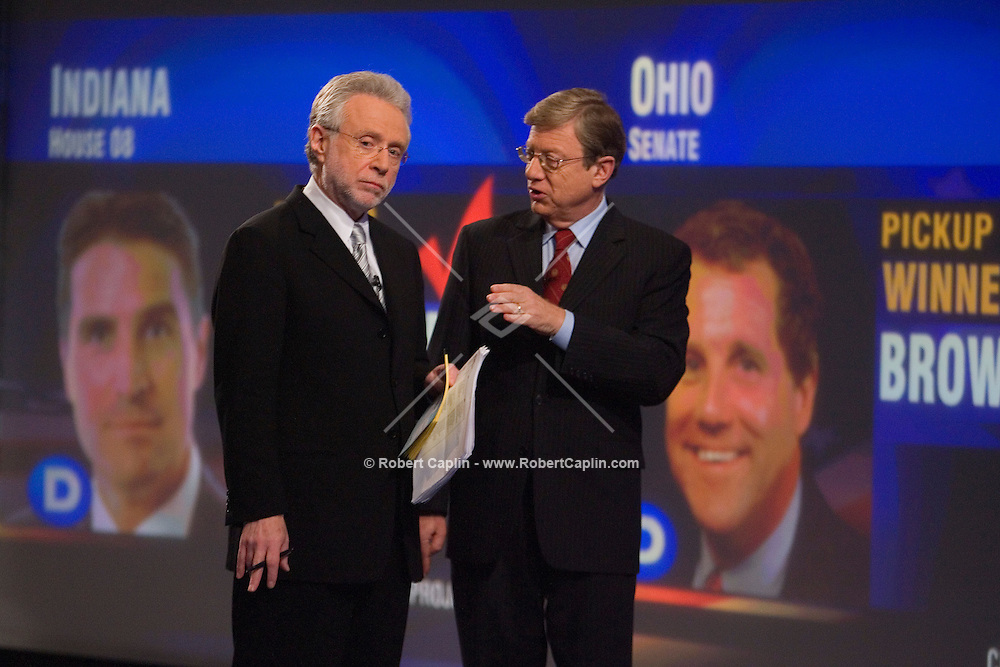CNN Anchor Wolf Blitzer, left and CNN Sr. Political Analyst Jeff Greenfield during CNN's 2006 election coverage in CNN's New York Studios, Nov. 7, 2006.