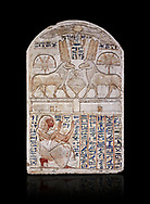 """Ancient Egyptian stele odedicated to Amon Re the """"good Ram"""" by foreman Baki, limestone, New Kingdom, 19th Dynasty, (1290-1213 BC), Deir el-Medina, Drovetti cat 1549. Egyptian Museum, Turin. black background. Reign of Ramesses II.<br /> <br /> This round-topped stele is carved in low relief and painted <br /> in several colours. The pictorial plane is divided into two <br /> registers, the upper one containing two rams facing each <br /> other. The animals, with cobras rising on their foreheads, <br /> wear tall headdresses composed of two tall plumes with a <br /> solar disk at the centre. Between them is a small offering <br /> table with lotus flowers. The mirror image hieroglyphic <br /> inscription refers to the rams and reveals their divine <br /> nature as that of Amun-Ra. In the register below, <br /> foreman Baki is shown in the pose of adoration. .<br /> <br /> If you prefer to buy from our ALAMY PHOTO LIBRARY  Collection visit : https://www.alamy.com/portfolio/paul-williams-funkystock/ancient-egyptian-art-artefacts.html  . Type -   Turin   - into the LOWER SEARCH WITHIN GALLERY box. Refine search by adding background colour, subject etc<br /> <br /> Visit our ANCIENT WORLD PHOTO COLLECTIONS for more photos to download or buy as wall art prints https://funkystock.photoshelter.com/gallery-collection/Ancient-World-Art-Antiquities-Historic-Sites-Pictures-Images-of/C00006u26yqSkDOM"""