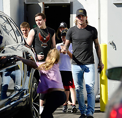 EXCLUSIVE: David Beckham and his kids are seen leaving Jon and Vinny's restaurant after enjoying a rare family outing together in Los Angeles. 22 Oct 2017 Pictured: The Beckhams. Photo credit: MEGA TheMegaAgency.com +1 888 505 6342