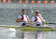 Caversham, Great Britain,  Bow Peter REED and Andy TRIGGS-HODGE, GB Rowing Media Day at the Redgrave Pinsent Rowing Lake. GB Rowing Training Centre. Tue 28.04.2009  [Mandatory Credit. Peter Spurrier/Intersport Images]