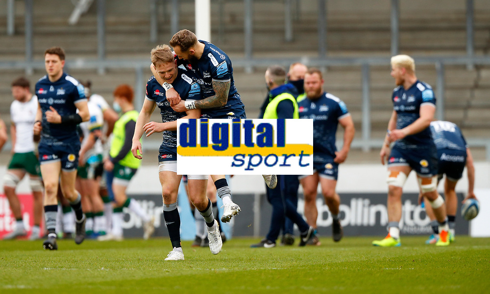 Rugby Union - 2020 / 2021 Gallagher Premiership - Round 4 - Sale Sharks vs London Irish - A J Bell Stadium<br /> <br /> Byron McGuigan of Sale Sharks celebrates with Arron Reed after Simon Hammersley of Sale Sharks scores the opening try  at A J Bell Stadium<br /> <br /> Credit COLORSPORT/LYNNE CAMERON