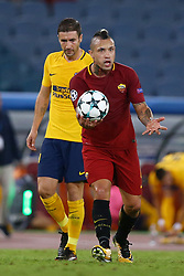 September 12, 2017 - Rome, Italy - Radja Nainggolan of Roma reclaiming with the referee during the UEFA Champions League Group C football match between AS Roma and Atletico Madrid on September 12, 2017 at the Olympic stadium in Rome, Italy. (Credit Image: © Matteo Ciambelli/NurPhoto via ZUMA Press)