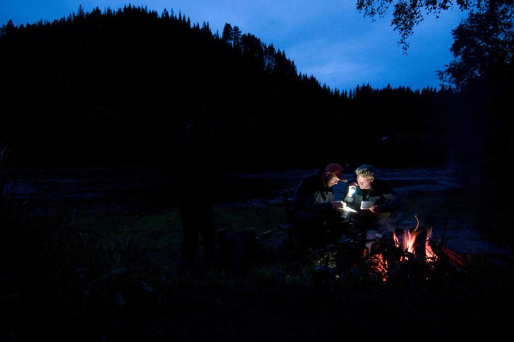 Flyfishing by River Orkla, Rennebu, Norway<br /> Model name: Patrik Karsson, Krister Hoel, Stefan Enevoldsen - valid model release by photographer