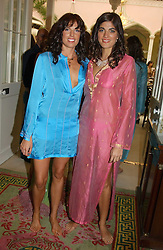 Left to right, GEORGIANA ANSTRUTHER-GOUGH-CALTHORPE and TANYA LAWESON at a fashion show of Sybil Stanislaus Summer 2005 collection with jewellery by Philippa Holland held at The Lanesborough Hotel, Hyde Park Corner, London on 13th April 2005.<br /><br />NON EXCLUSIVE - WORLD RIGHTS