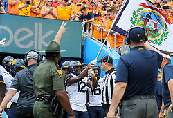 Sep 1, 2018; Charlotte, NC, USA; The West Virginia Mountaineers run onto the field before their game against the Tennessee Volunteers at Bank of America Stadium. Mandatory Credit: Ben Queen-USA TODAY Sports
