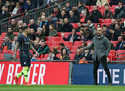 Manchester City manager Pep Guardiola gives instructions to Nicolas Otamendi of Manchester City - Mandatory by-line: Arron Gent/JMP - 06/04/2019 - FOOTBALL - Wembley Stadium - London, England - Manchester City v Brighton and Hove Albion - Emirates FA Cup Semi Final