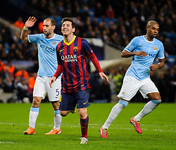 Barcelona Midfielder Lionel Messi (ARG) reacts as his side win the match 0-2 - Photo mandatory by-line: Rogan Thomson/JMP - Tel: 07966 386802 - 18/02/2014 - SPORT - FOOTBALL - Etihad Stadium, Manchester - Manchester City v Barcelona - UEFA Champions League, Round of 16, First leg.