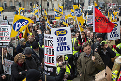 © licensed to London News Pictures. London, UK 05/04/2013. Members of the Public and Commercial Services union protesting outside the Cabinet Office in Whitehall, London as the union go on strike for half a day in a row over pay, pensions and terms and conditions. Photo credit: Tolga Akmen/LNP