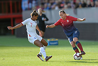 Fotball , 3. september 2019 , Norge - England , kvinner , dammer<br /> Norway - England , Woman, <br /> Kristine Minde , Norge ,  <br /> Nikita Parris, England