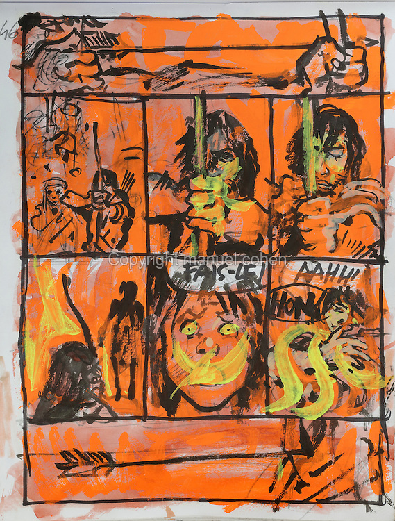 Storyboard page in orange (no. 46) of an arrow being fired, from a sketchbook featuring characters, costumes and storyboards for Le Feu Ecarlate or the Scarlet Fire, Series 35 of the Thorgal comic book series, to be published November 2016, by Grzegorz Rosinski, 1941-, Polish comic book artist. Rosinski was born in Stalowa Wola, Poland, and now lives in Switzerland, and is the author and designer of many Polish comic book series. He created Thorgal with Belgian writer Jean Van Hamme. The series was first published in Tintin in 1977 and has been published by Le Lombard since 1980. The stories cover Norse mythology, Atlantean fantasy, science fiction, horror and adventure genres. Le Feu Ecarlate takes place in Bag Dadh, a city under siege by the Magnus force, where Thorgal must find Aniel and save him from the Red Wizards who made him the reincarnation of their Grand Master Kahaniel. Picture by Manuel Cohen / Further clearances requested, please contact us and/or visit www.lelombard.com