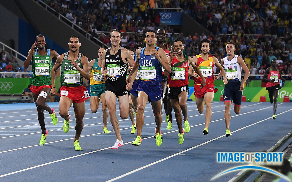 Aug 20, 2016; Rio de Janeiro, Brazil; Matthew Centrowitz (USA) defeats Taoufik Makhloufi (ALG), Nick Willis (NZL), Ayanleh Souleiman (ETH), Abdalaati Iguider (MAR) and Asbel Kiprop (KEN) to win the 1,500m in 3:50.00 during the 2016 Rio Olympics at Estadio Olimpico Joao Havelange. <br /> <br /> *