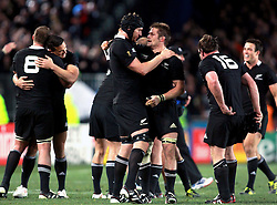 © Andrew Fosker / Seconds Left Images 2011 - Ali Williams embraces Richie McCaw (R - centre ) after the final whistle as the All Blacks narrowly win the World Cup France v New Zealand - Rugby World Cup 2011 - Final - Eden Park - Auckland - New Zealand - 23/10/2011 -  All rights reserved..