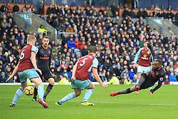 26 November 2017 -  Premier League - Burnley v Arsenal - Alexandre Lacazette of Arsenal slips as he shoots - Photo: Marc Atkins/Offside