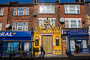 Street view of OM Shakthi Sri Merupuram Maha Pathirakali Amman Thevasthanam Hindu Temple on Forest Road, Walthamstow, East London, United Kingdom.
