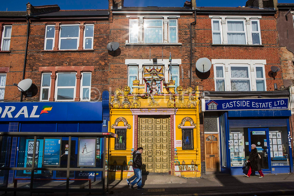 Street view of OM Shakthi Sri Merupuram Maha Pathirakali Amman Thevasthanam Hindu Temple on Forest Road, Walthamstow, East London, United Kingdom.