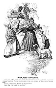 """Misplaced Affection. Aunt Jane. """"This is the dear doggie that I wanted to show you, Carrie. She's the sweetest creature. To see her with her puppies is to witness the perfection of mother-hood."""" Carrie. """"How sweet! Where are the puppies?"""" Small boy. """"She's eat 'em all, Miss!"""""""