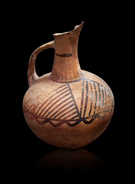 Cycladic ceramic jug with painted linear decoration. Cycladic II (2800-2300 BC) , Chalandriani, Syros. National Archaeological Museum Athens. Cat no 4969.  Black background. .<br /> <br /> If you prefer to buy from our ALAMY PHOTO LIBRARY  Collection visit : https://www.alamy.com/portfolio/paul-williams-funkystock/cycladic-art-artefacts.html Type into the LOWER SEARCH WITHIN GALLERY box to refine search by adding background colour, place, museum etc<br /> <br /> Visit our CYCLADIC CIVILISATIONS PHOTO COLLECTIONS for more photos to download or buy as wall art prints https://funkystock.photoshelter.com/gallery-collection/Cycladic-civilisation-Ancient-Greek-Artefacts-art-Photos-Pictures-Images/C0000CmevVvnC.XU