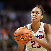 UNCASVILLE, CONNECTICUT- DECEMBER 19:  Azura Stevens #23 of the Connecticut Huskies in action during the Naismith Basketball Hall of Fame Holiday Showcase game between the UConn Huskies Vs Oklahoma Sooners, NCAA Women's Basketball game at the Mohegan Sun Arena, Uncasville, Connecticut. December 19, 2017 (Photo by Tim Clayton/Corbis via Getty Images)