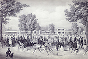 The Iron Fountain Pavilion and the Arkadenbau in Bad Kissingen, Germany. lithograph by Christian Weiss and H kuber 1850