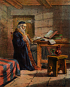 Nicholas Ridley (c1500-1555) Bishop of London 1550.  English Protestant reformer and martyr writing while in prison. Under Mary I he was found guilty of heresy.  He was take from London to Oxford and on 16 Ocobter 1555 burned alive with Latimer and Cranmer in front of Balliol College.  Chromolithograph from mid19th century edition of Foxe's 'Book of Martyrs'.