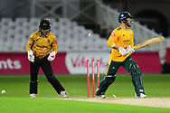 Ben Duckett of Nottinghamshire looses his bails during the Vitality T20 Blast North Group match between Nottinghamshire County Cricket Club and Leicestershire County Cricket Club at Trent Bridge, Nottingham, United Kingdom on 4 September 2020.