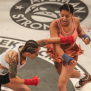 HOLLYWOOD, FL - JUNE 27: Pearl Gonzalez (R) fights Charisa Sigala during the Bare Knuckle Fighting Championships at the Seminole Hard Rock & Casino on June 27, 2021 in Hollywood, Florida. (Photo by Alex Menendez/Getty Images) *** Local Caption *** Pearl Gonzalez; Charisa Sigala