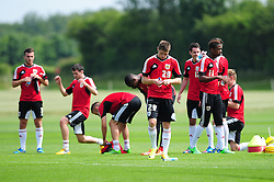 The squad take a break during training - Photo mandatory by-line: Dougie Allward/JMP - Tel: Mobile: 07966 386802 28/06/2013 - SPORT - FOOTBALL - Bristol -  Bristol City - Pre Season Training - Npower League One