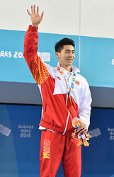 BUENOS AIRES, Oct. 9, 2018  Sun Jiajun of China celebrates during the awarding ceremony of the men's 100m breaststroke at the 2018 Summer Youth Olympic Games in Buenos Aires, Argentina on Oct. 8, 2018. Sun Jiajun won the gold. (Credit Image: © Zhu Zheng/Xinhua via ZUMA Wire)