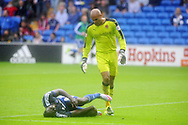 Wolves goalkeeper Carl Ikeme looks on as Kenwyne Jones of Cardiff city lies injured on the pitch during second half and has to leave the field of play injured. Skybet football league championship match, Cardiff city v Wolverhampton Wanderers at the Cardiff city stadium in Cardiff, South Wales on Saturday 22nd August 2015.<br /> pic by Andrew Orchard, Andrew Orchard sports photography.