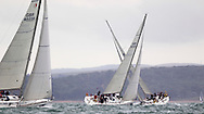 Yachts in the Sunsail fleet cross as they race upwind during Aberdeen Asset Management Cowes Week. <br /> Picture date Tuesday 5th August, 2014.<br /> Picture by Christopher Ison. Contact +447544 044177 chris@christopherison.com