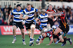 Dominic Day (Bath) goes on the attack - Photo mandatory by-line: Patrick Khachfe/JMP - Tel: Mobile: 07966 386802 11/01/2014 - SPORT - RUGBY UNION -  Rodney Parade, Newport - Newport Gwent Dragons v Bath - Amlin Challenge Cup.
