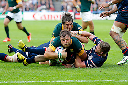South Africa Number 8 Duane Vermeulen comes up short of the tryline - Mandatory byline: Rogan Thomson/JMP - 07966 386802 - 07/10/2015 - RUGBY UNION - The Stadium, Queen Elizabeth Olympic Park - London, England - South Africa v USA - Rugby World Cup 2015 Pool B.